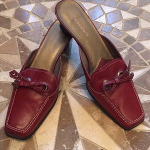 Dress Barn Leather Uppers Red Mules
